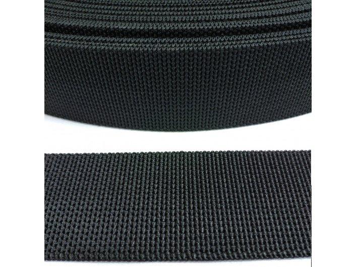 Стропа черная, 5 см, плотная, жесткая