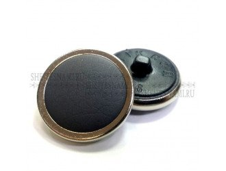 Пуговица обтяжная, кожзам черная, 24 мм.