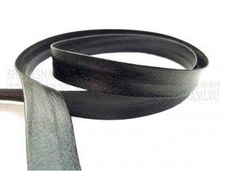 Косая бейка-кожзам, 20 мм, ЧЕРНАЯ
