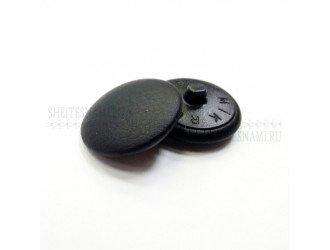Пуговица обтяжная, кожзам черная, 23 мм.