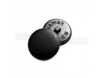 Пуговица обтяжная, кожзам черная, 28 мм.